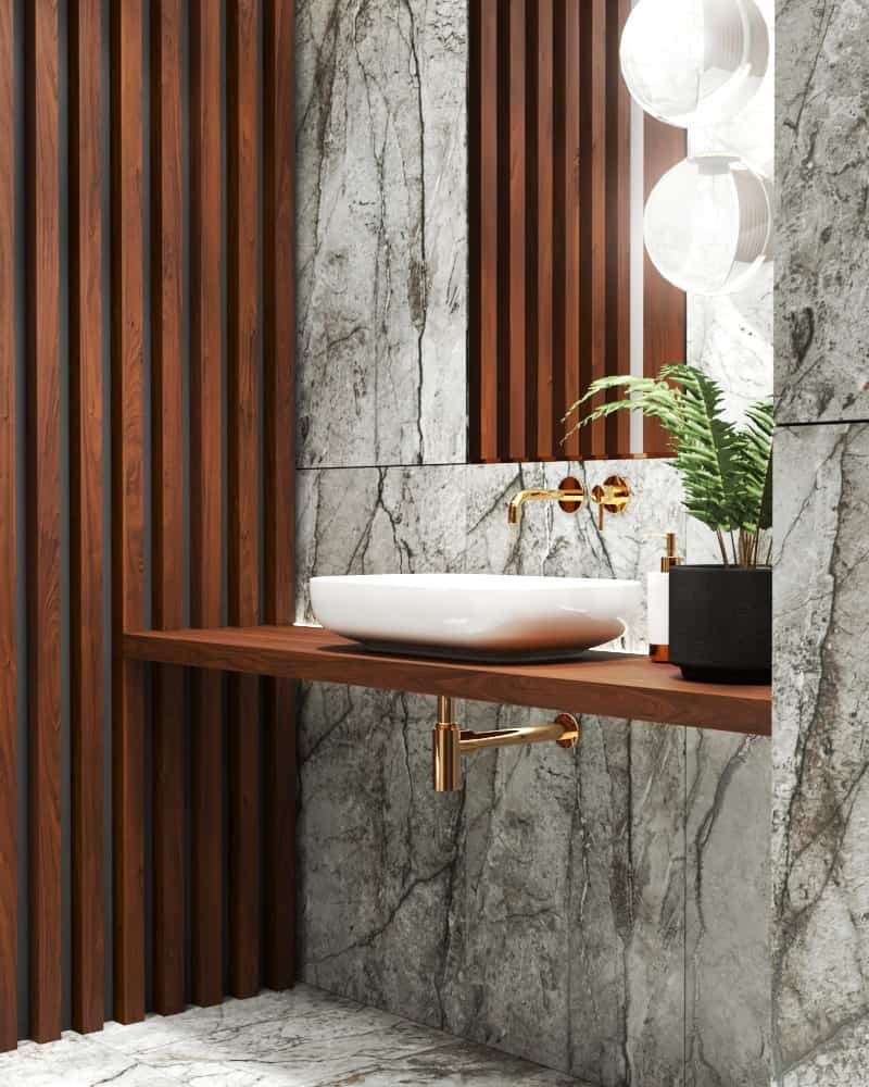 Marble bathroom design details vanity area timber