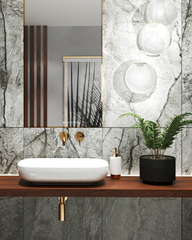 Marble bathroom design details vanity area