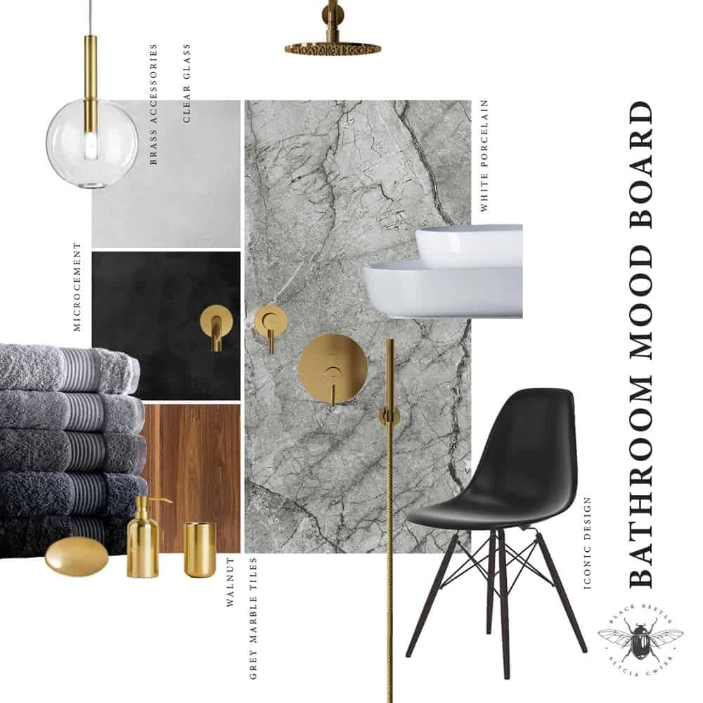Marble bathroom design mood board