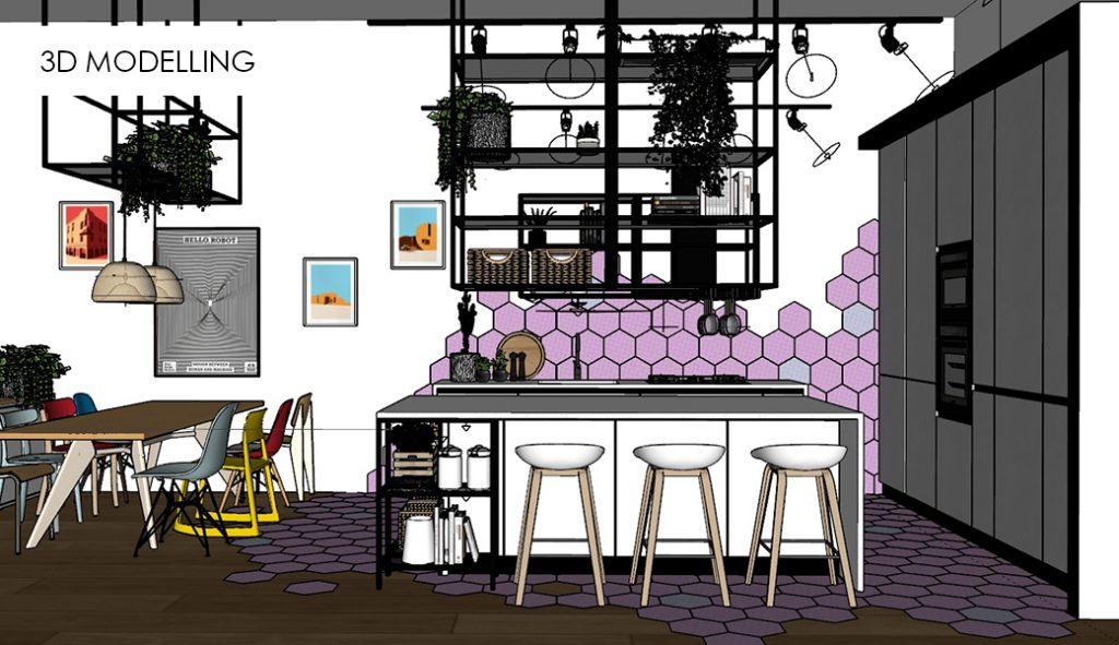 3D modelling image 2 kitchen living