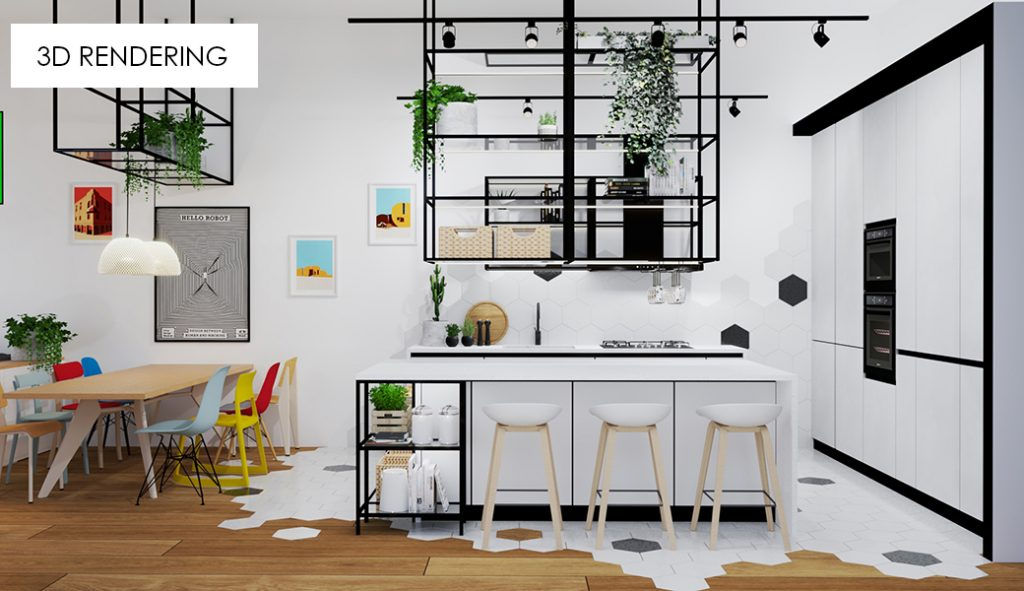 3D rendering image 2 kitchen living