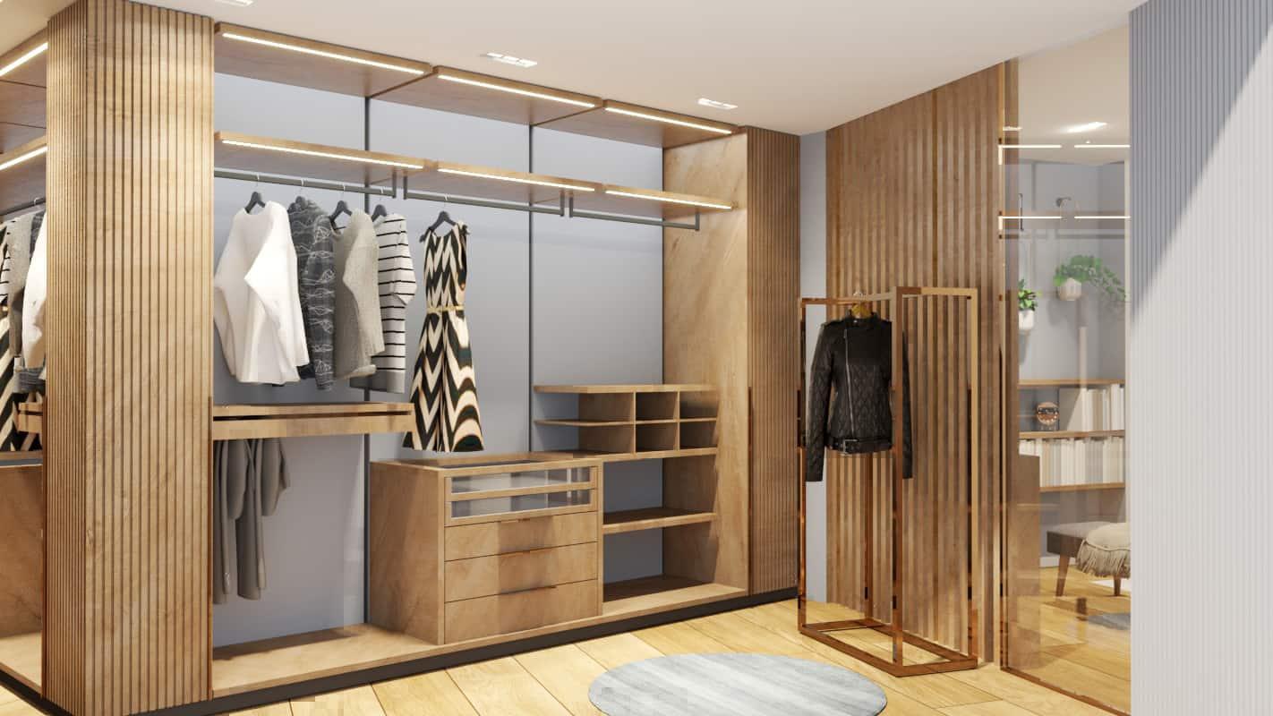 Bedroom walk-in wardrobe project render 2