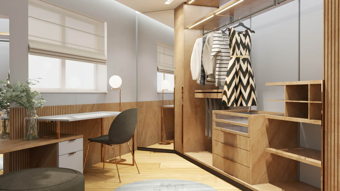 Bedroom walk-in wardrobe project render 4