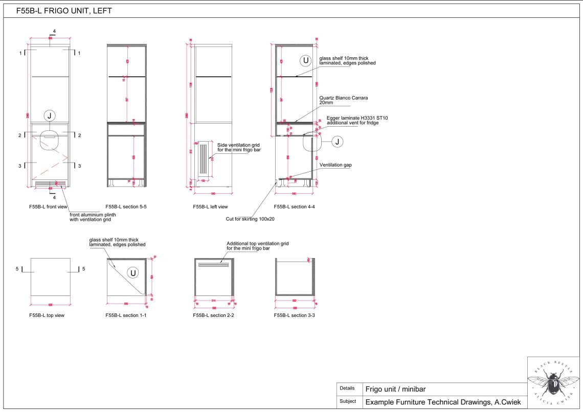 Furniture technical drawings example hotel frigo unit