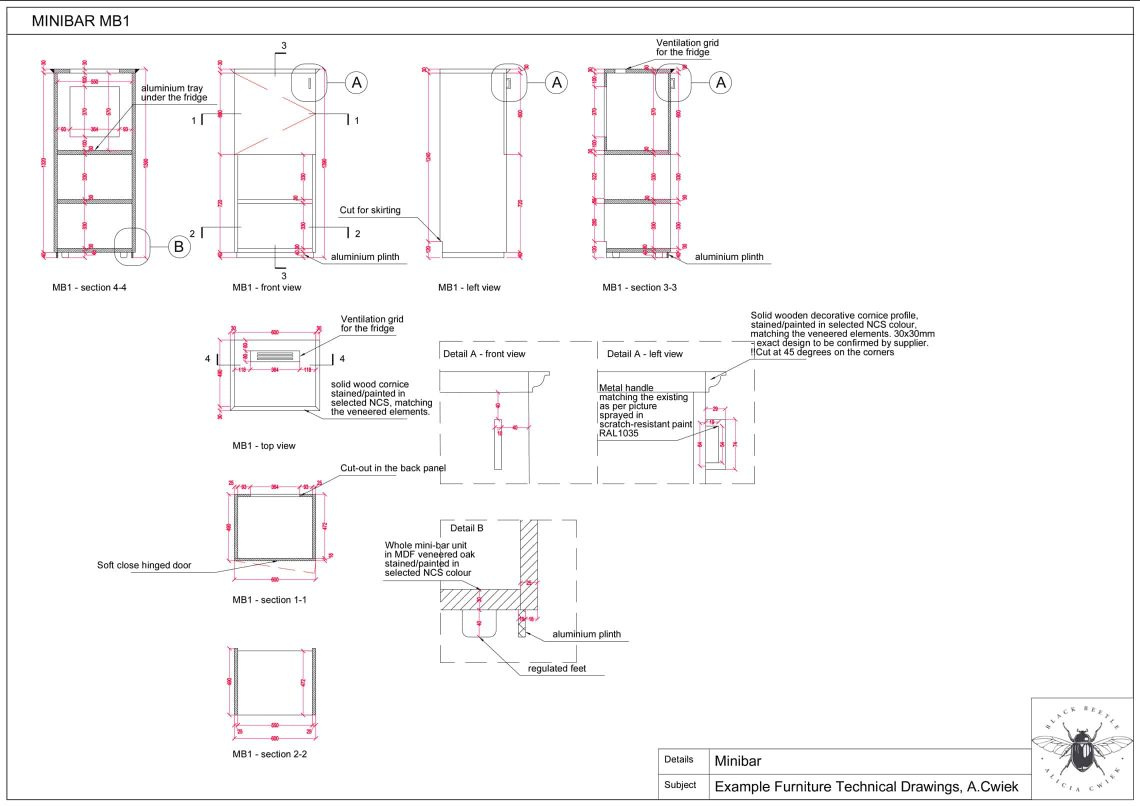 Furniture technical drawings example hotel minibar