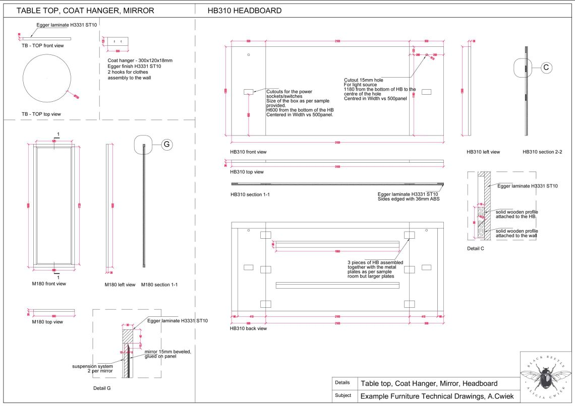 Furniture technical drawings example hotel table mirror headboard