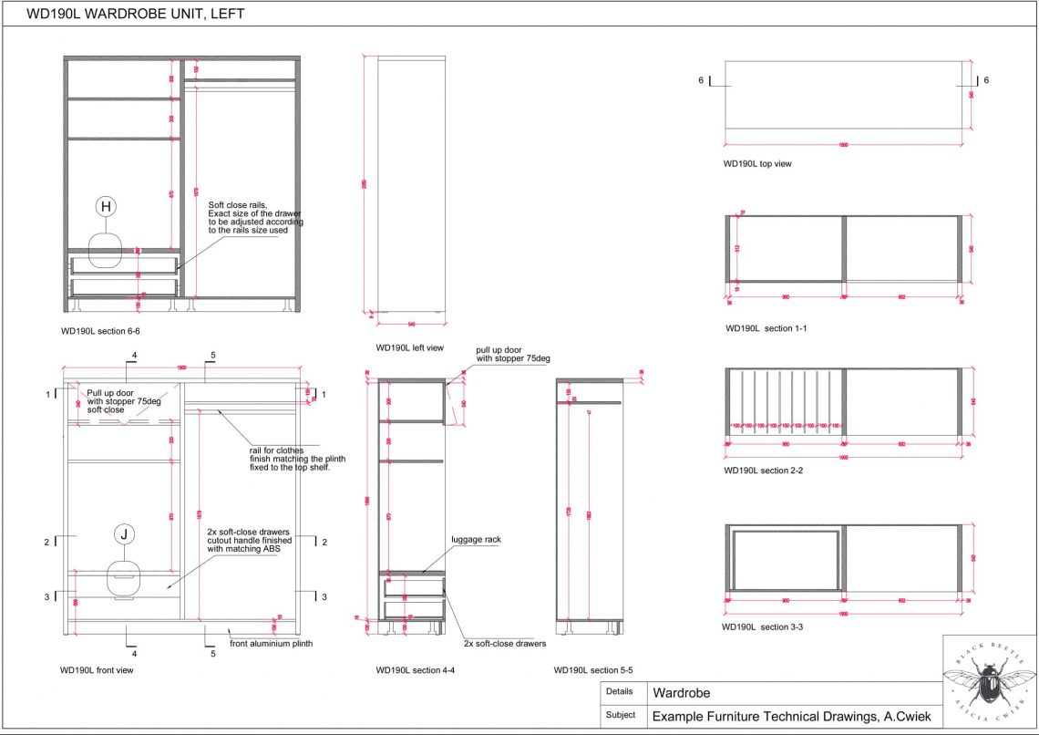 Furniture technical drawings example hotel wardrobe