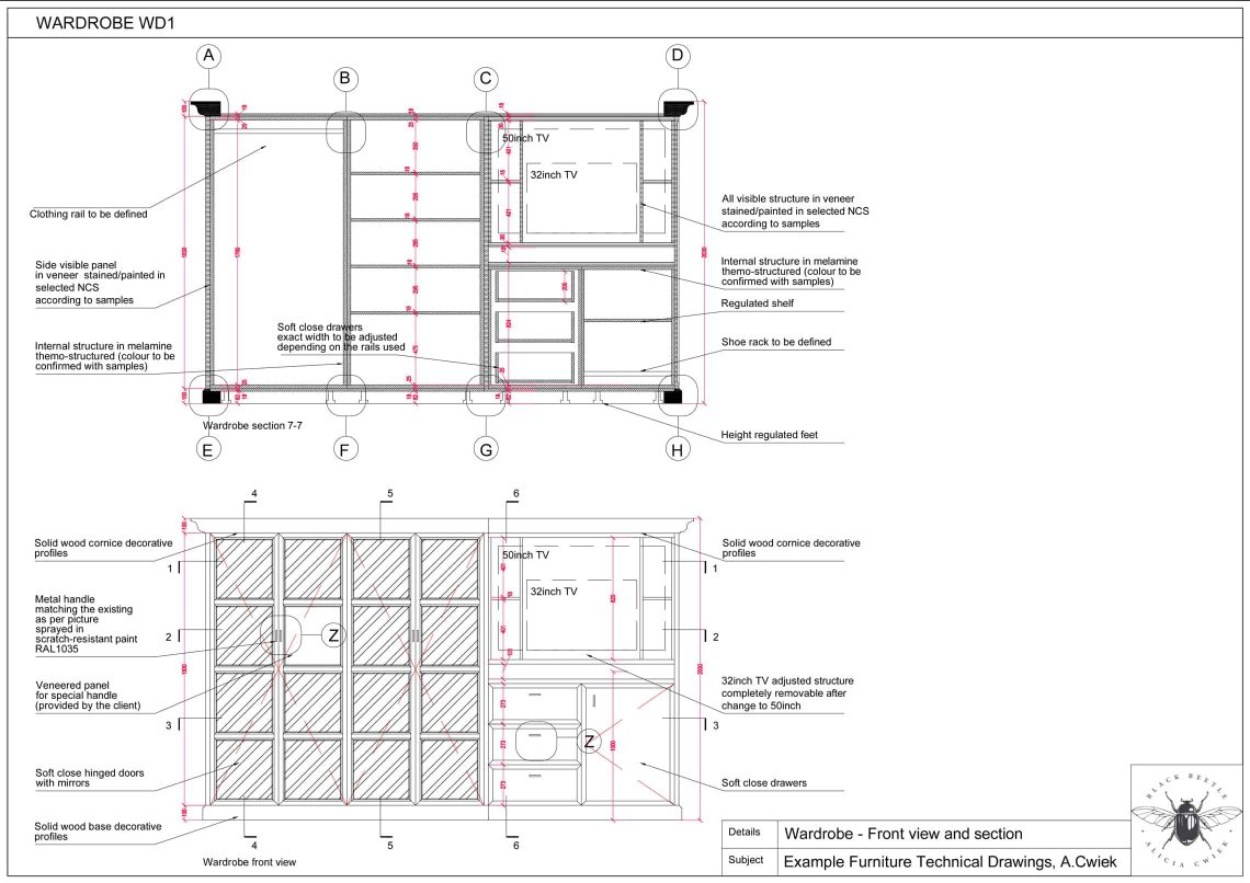 Furniture technical drawings example hotel wardrobe part1