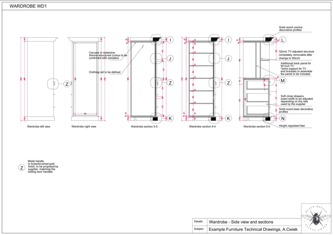 Furniture technical drawings example hotel wardrobe part3
