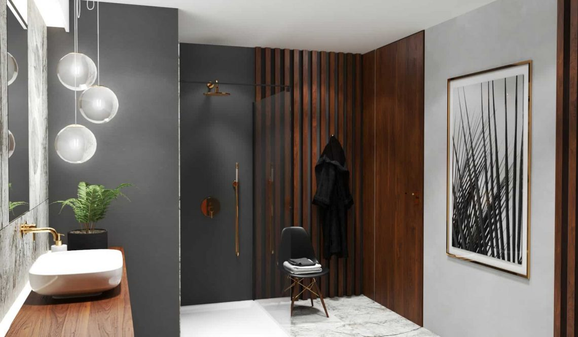 Marble bathroom design corner view