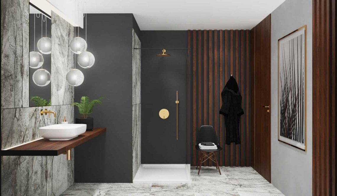 Marble bathroom design shower view