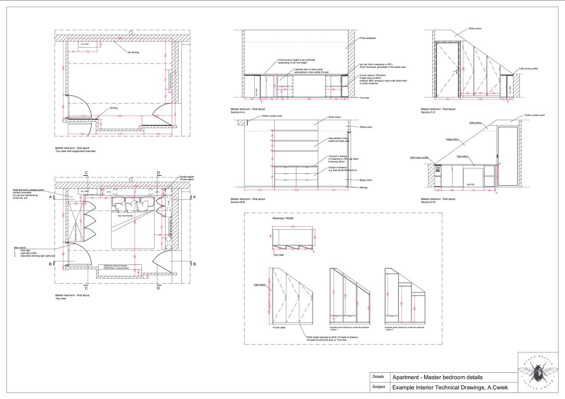 Interior technical drawings apartment1 master bedroom