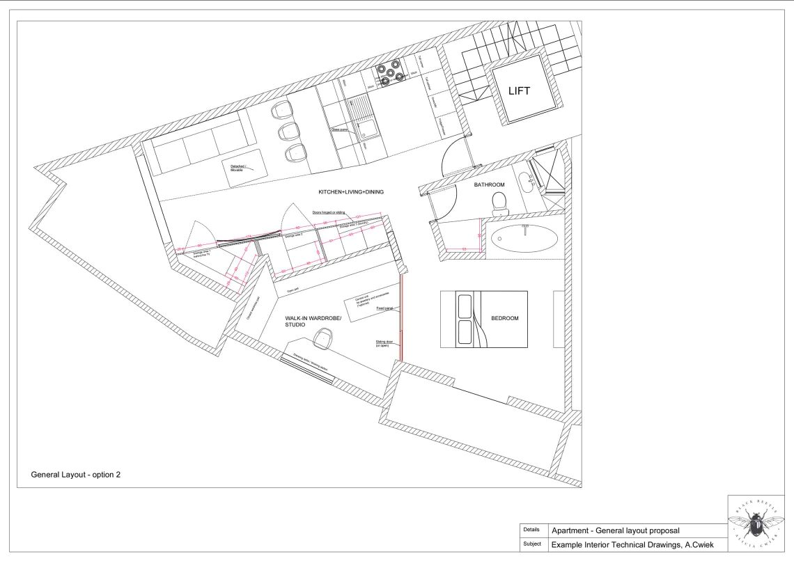 Interior technical drawings apartment2 layout