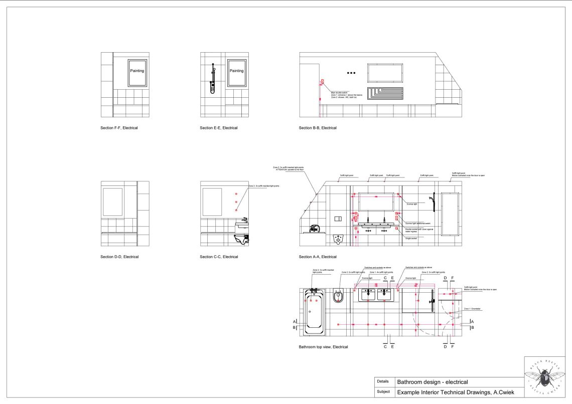 Interior technical drawings apartment3 bathroom electrical