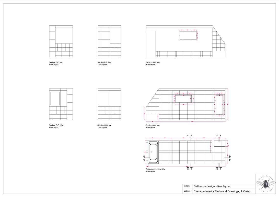Interior technical drawings apartment3 bathroom tiles layout blackwhite